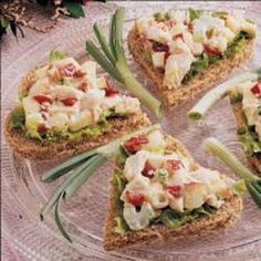 """Curried Chicken Tea Sandwiches ~ """"At the Victorian-theme bridal shower I hosted, I spread this dressed-up chicken salad on bread triangles. It's also appealing served on a lettuce leaf. Apples and dried cranberries add color and tang. Tea Sandwiches, Tea Recipes, Cooking Recipes, Party Recipes, Tapas, Simply Yummy, How To Cook Chicken, Cooked Chicken, Chicken Salad"""