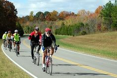 Cyclist on the Natchez Trace Parkway in Tennessee