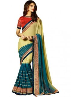 Beige and Turquoise Blue Georgette Saree