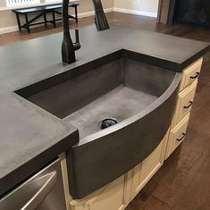 Concrete Countertop Looking for a countertop change and don't want to granite or quartz? Check out these concrete tops we had installed by… - Diy Concrete Countertops, Concrete Sink, Countertop Materials, Concrete Lamp, Stained Concrete, Concrete Floors, Kitchen Interior, New Kitchen, Kitchen Decor