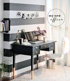 Jacquelyn Clark's blog and company Lark & Linen show's this beautiful small desk and accent wall for a home office. Looks good, but not a lot of storage.