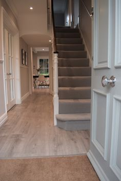 Hallway with carpet or stair runner, spotlights and double-doors into the left-hand room. Also like the front door knob Hallway with carpet or stair runner, spotlights and double-doors into the left-hand room. Also like the front door knob Entrance Hall Decor, Hallway Ideas Entrance Narrow, House Entrance, Modern Hallway, 1930s Hallway, Small Entrance Halls, Front Hallway, Hall Way Decor, Stairs And Hallway Ideas