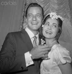 If you were born in that year stage actor/singer/entertainer Robert Goulet married stage actor/singer/dancer Carol Lawrence - he had been Lancelot in Camelot and she had been Maria in West Side Story. They had 2 sons and divorced in 1981 Celebrity Wedding Photos, Celebrity Wedding Dresses, Celebrity Couples, Celebrity Pictures, Celebrity Weddings, Star Wedding, Wedding Pics, Wedding Couples, Wedding Bride