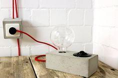 Leuchte aus Beton | Tischlampe | Industrielampe | Vintage Look Lampe | Betonleuchte in grau Farbe | Lampe aus Beton