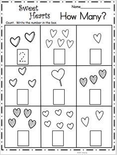 Count How Many - Sweet Hearts Math Free Valentine's Day math worksheet. Count and write the number of hearts in each box. Students practice the numbers from 1 to Free Math Worksheets, Kindergarten Worksheets, In Kindergarten, Preschool Activities, Geometry Worksheets, Preschool Classroom, Preschool Learning, Teaching, Valentines Day Activities