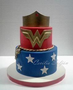 Wonderwoman cake - Cake by Cecilia Solján Wonder Woman Cake, Wonder Woman Birthday, 11th Birthday, Birthday Cakes, Birthday Parties, Bolo Fake, Superhero Cake, Girl Cakes, Let Them Eat Cake