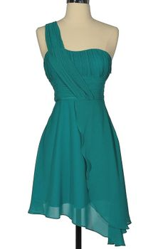 One Shoulder Asymmetrical Hemline Chiffon Designer Dress by Minuet in Teal Cute Dresses, Teal Dresses, Bridesmaid Dresses, Summer Dresses, Wedding Dresses, Bridesmaids, Dress Sites, Classy Outfits, Chiffon Dress