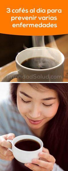 Tomar 3 cafés al día puede prevenir varias enfermedades como diabetes, cáncer, enfermedades cardíacas, gota, cálculos biliares, depresión, accidentes cerebrovasculares, enfermedad de Parkinson y enfermedad de Alzheimer.