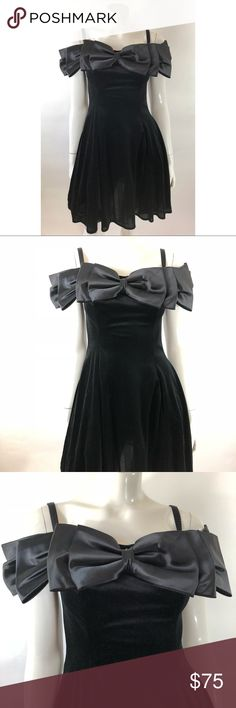 VTG 80s Dress 7 Black Velour Off Shoulder Prom VTG 80s Womens Cocktail Dress 7 Black Velour Off Shoulder Prom Special Occasion. Measurements: (in inches) Underarm to underarm: 15 Length: 34 Waist: 27  Good, gently used condition Unbranded Dresses Prom