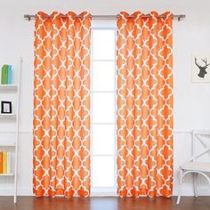 "Best Home Fashion Oxford Basketweave Moroccan Print Curtains - Stainless Steel Nickel Grommet Top - Orange - 52""W x 84""L - (Set of 2 Panels) Best Home Fashion http://www.amazon.com/dp/B014TRHXZ4/ref=cm_sw_r_pi_dp_yMPswb138GEZC"