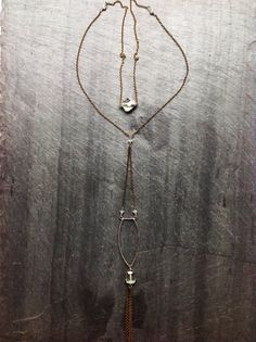 Geometric Hammered Green Amethyst Long Deco Arc Necklace - By Loop Jewelry- Silver Geometric-Gold Geometric- Wedding Jewelry- Back Necklace
