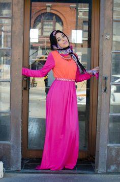 Pink Cotton Candy maxi dress Style Hijab fashion hijabmuseum.com