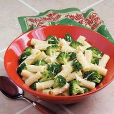 Garlic Broccoli Pasta Recipe: altered to add red pepper flakes, cream cheese, a dash of white wine, parsley, butter, and chicken stock.