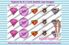 1' Bottle caps (4x6) digital super girl K609   PLEASE VISIT http://craftinheavenboutique.com/AND USE COUPON CODE thankyou25 FOR 25% OFF YOUR FIRST ORDER OVER $10! #bottlecap #BCI #shrinkydinkimages #bowcenters #hairbows #bowmaking #ironon #printables #printyourself #digitaltransfer #doityourself #transfer #ribbongraphics #ribbon #shirtprint #tshirt #digitalart #diy #digital #graphicdesign please purchase via link http://craftinheavenboutique.com