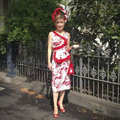 In a red and white floral design by me for The Melbourne Cup Millinery by Louise McDonald Millinery Race Wear, Spring Racing, Melbourne Cup, Frocks, Red And White, Floral Design, Awards, High Neck Dress, Seasons
