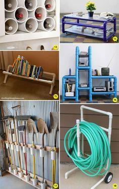 24 ideias para decorar e organizar a casa usando canos de PVC DIY: 24 ideias para decorar e organizar a casa usando canos de PVC - Casinha ArrumadaDIY: 24 ideias para decorar e organizar a casa usando canos de PVC - Casinha Arrumada Pvc Pipe Crafts, Pvc Pipe Projects, Diy Pipe, Home Projects, Tube Carton, Pvc Furniture, Diy Casa, Diy Arts And Crafts, Getting Organized