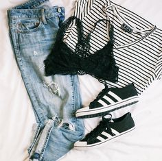 The trick to nailing #athleisure looks is all in the details! Head to #freestyleclothingexchange and pick up adidas, a lace bralette, and a pair of boyfriend jeans to help pull any look together. #streetstyle #fashion #style #freestylefind #adidas #denim #minimalist #springootd #ootd #flatlay #shoplocal #shopsmall