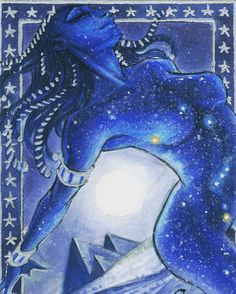 Nut - Egyptian Goddess (Studio Perna Classic Mythology Sketch Card) by Meghan Hetrick Egyptian Mythology, Egyptian Goddess, Egyptian Art, Nut Goddess, Goddess Art, Ancient Egypt, Ancient Art, Ancient History, Gods And Goddesses
