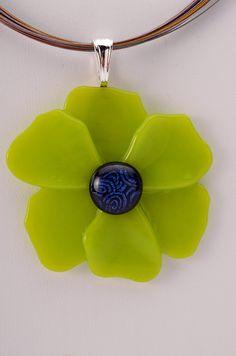 Lime green Poppy Pendant fused glass pendant by Artdefleur on Etsy, $17.00