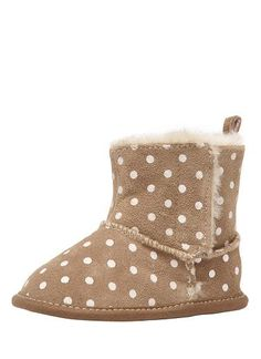 Suede bootie with multi spot print. Faux fur lining and side velcro tab opening.