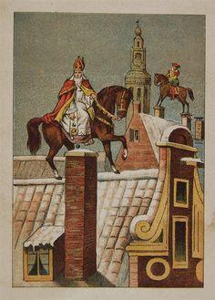 Sint en Piet te paard rijdend over de daken.
