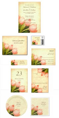 Romantic spring wedding invitation set with pretty pink tulips on coordinating pale yellow background with pink vignetting Spring Wedding Invitations, Wedding Invitation Sets, Invites, Tulip Wedding, Wedding Sets, Spring Wedding Inspiration, Pink Tulips, Yellow Background, Pretty In Pink