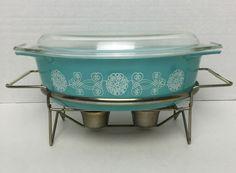 Vintage Promo Pyrex 2 5 Qt Turquoise Lace Medallion 045 Casserole Orig Cradle | eBay