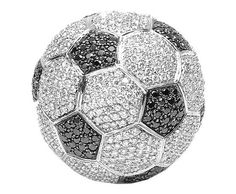 """Soccer ball: Yair Shimansky is a famous designer in South Africa who designed the most expensive diamond covered """"football"""" in the whole world ever. This special """"football"""" is used of 6620 pieces of white diamonds and 2640 pieces of black diamonds totally, and it took the designer three months, its total value $2,500,000.00"""