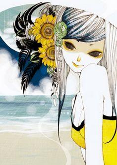 Cute Illustrations by Kazuko Taniguchi   beach