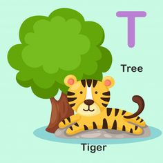 Illustration Isolated Animal Alphabet Letter T-tree,tiger English Activities For Kids, Infant Activities, Free Vector Images, Vector Free, Animal Pictures For Kids, Alfabeto Animal, Abc Worksheets, Flashcards For Kids, Alphabet Pictures