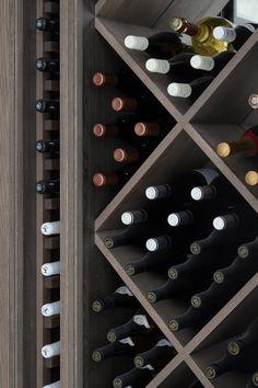 Wine Room - Humphrey Munson Kitchens Open Plan Kitchen Living Room, Kitchen Dining Living, Cupboard Storage, Wine Storage, Mirror Splashback, Humphrey Munson, Exposed Brick Walls, Wine Wall, Wine Cellar