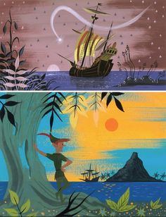 Mary blair - concept art for walt disney& peter pan - Mary Blair, Cartoon Background, Animation Background, Art And Illustration, Illustrations Posters, Disney Drawings, Art Drawings, Drawing Disney, The Big Hero