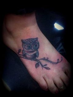 Black Ink Owl On Branch Tattoo On Right Foot