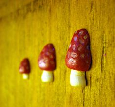 Miniature red mushroom magnets by aivlys85 on Etsy, $6.00