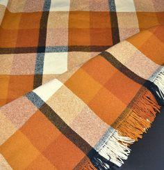 Faribo ~ 100% Wool Orange & Black Stadium Blanket