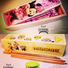 Handmade wooden pencibox with Minions and Minnie!