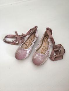 59ba00bfc16901 Sam Edelman Fallon Blush Velvet Ballet Flats Lace Up Size 11