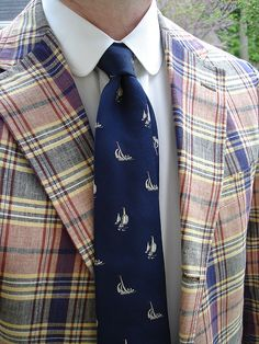 Vintage Brooks Brothers 3/2 Indian madras jacket, Egyptian cotton broadcloth club collar shirt, and vintage '346' sailboat tie.