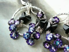 Buddleia and butterflies - RESERVED - sterling and Swarovski earrings