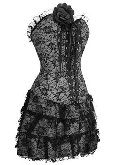 black and gray flowery laced corset