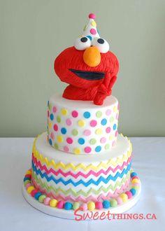 elmo birthday cakes for girls | The bottom tier of the cake was banana sour cream cake with cream ...