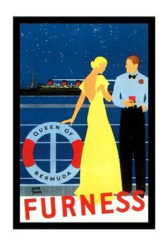 Vintage Queen Of Bermuda Cruise Ship Travel Poster Art