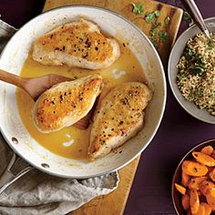 Chicken with Citrus Sauce and Lime-Cilantro Quinoa - Quick and Easy Chicken and Turkey Recipes for Dinner Tonight - Cooking Light