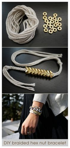 DIY braided hex nut bracelet. Loving this.