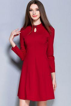 Dark+Red+Keyhole+Bow+Decor+Long+Sleeve+Dress+#Dark+#Dress+#maykool