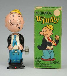 Lot # : 396 - Linemar Tin Wind-up Wimpy Nodder. Metal Toys, Tin Toys, Vintage Tins, Vintage Dolls, Vintage Stuff, Popeye The Sailor Man, Old School Toys, Wimpy, Vintage Cartoon
