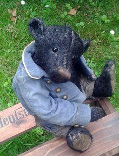 Mcpost A Wonderful RARE Black OOAK Dufeu Bear Made from Schulte Mohair | eBay