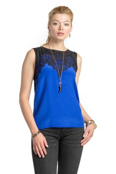 Tank with Lace Neckline