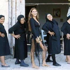 American actress and sex symbol Raquel Welch poses with local Greek women during a break in filming The Beloved in Cyprus . Get premium, high resolution news photos at Getty Images Raquel Welch, Illinois, Chicago, Local Girls, Celebs, Celebrities, Great Photos, Rare Photos, American Actress