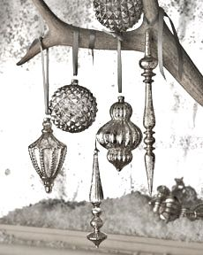 diy mercury glass vintage style ornaments---use Krylon mirror glass spray on old, cheap ornaments